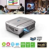 """Mini Portable DLP Projector Support 1080p/3D/WIFI/100"""" Display/Auto Keystone Correction,Rechargeable LED Projector with HDMI USB 3.5mm Audio for iPhone iPad Laptop DVD Player PC Mac Game Console"""
