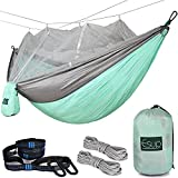 Esup Double Camping Hammock with Mosquito Net -Lightweight Nylon Portable Hammock, Best Parachute Hammock with Tree Straps for Backpacking, Camping, Travel (Green/Gray)