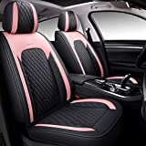 BABYBLU Leather Car Seat Covers, Faux Leatherette Automotive Vehicle Cushion Cover for Cars SUV Pick-up Truck Universal Fit Set for Auto Interior Accessories ( (Airbag Compatible) (Pink)