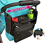 Non-Slip Stroller Organizer with Insulated Cup Holders, Extra Roll Down Diaper Pocket, Detachable Phone Bag & Wipes Pocket - Universal Fit for Uppababy Vista, Britax, BOB, Umbrella, Cruz & All Others