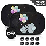 iZoeL Car Sun Shade for Baby Kids 2 Pack Static Cling Side Window Car 80GSM Rear Sunshades Universal with 8 Suction Cups and Storage Bag - Sun Glare and UV Rays Protection (Blue Baby Elephant)