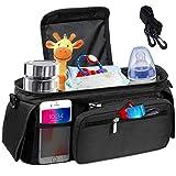 BabyStrollerOrganizerBag- StrollerStorage Bag with2XLWaterproof Leak-Proof Insulated CupHoldersandLargeDetachable Zippered Clutch BagforUniversalStrollerLike Baby Jogger,Bugaboo