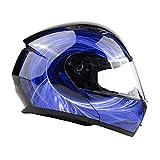 Typhoon TH158 Adult Modular Motorcycle Helmet DOT Dual Visor Full Face Flip-up - Blue Medium