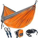 WINNER OUTFITTERS Double Camping Hammock - Lightweight Nylon Portable Hammock, Best Parachute Double Hammock for Backpacking, Camping, Travel, Beach, Yard. 118'(L) x 78'(W) Grey/Orange