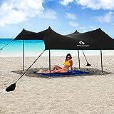 Red Suricata Family Beach Sunshade - Sun Shade Canopy | UPF50 UV Protection | Tent with 4 Aluminum Poles, 4 Pole Anchors, 4 Sandbag Anchors | Large & Portable Shelter Tarp (Black, Large 10' x 9')