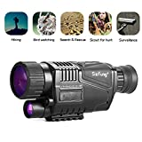 Sisfung Night Vision Monocular (Included 16GB TF Card), 5x40mm HD Night Vision Monocular Take Photos and Videos (Tags Time/Date) Up to 656ft in Full Darkness.