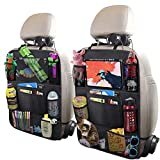 ULEEKA Car Backseat Organizer with 10' Table Holder, 9 Storage Pockets Seat Back Protectors Kick Mats for Kids Toddlers, Travel Accessories, Black, 2 Pack