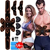 PiAEK ABS Stimulator Muscle Toner Rechargeable Abdominal Toning Belt, EMS Abdomen Muscle Trainer Fitness with 6 Modes 10 Levels for Men Women Abdomen/Arm/Le (Orange)