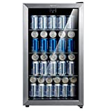 Comfee 115-120 Can Beverage Cooler/Refrigerator, 115 cans capacity, mechanical control, glass door with stainless steel frame,Glass shelves/adjustable legs for home/apartment