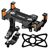 Tiakia Bike Phone Mount - Universal Motorcycle Mount Anti Shake & 360° Rotation, Face & Touch ID Bicycle Phone Holder Compatible with Samsung Galaxy S9/S8 Plus / Google Pixel / iPhone (Black + orange)
