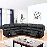 Divano Roma Furniture Classic and Traditional Bonded Leather Reclining Corner Sectional Sofa (Black), Large