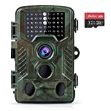 Coolife Trail Game Camera with 32GB Card, 16MP 1080P Hunting Wildlife Camera with 3 Infrared Sensors 49Pcs IR LEDs Night Vision 0.2S Motion Activated IP67 Waterproof 2.4' LCD