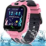 Smart Watch for Kids Girls Boys, IP67 Waterproof Kids Smart Watch with GPS Tracker, HD Touch Screen Call SOS Voice Chat Camera Phone Watches for Kids Age 3-14 (Sky Pink)