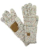 C.C Unisex Cable Knit Winter Warm Anti-Slip Touchscreen Texting Gloves, Confetti Oatmeal