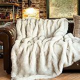 BATTILO HOME 60 x 80 Inches Home Decorative Sofa Bed Luxury Fox Faux Fur Throw Blanket Thick Warm Reversible to Plush Velvet