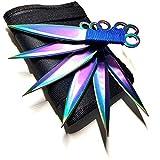 Avias Knife Supply - 6 Piece Tactical Metal Throwing Knife Set Ninja Kunai The Expendables 6 Piece Rainbow