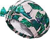 Auban Shower Cap Reusable,Ribbon Bow Bath Cap Oversized Large Design With Waterproof Exterior for All Hair Lengths,Great for Girls Spa Home Use,Hotel and Hair Salon (Green)