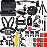 Neewer Upgraded 50-in-1 Action Camera Accessory Kit Compatible with GoPro Hero 9 8 Max 7 6 5 Black GoPro 2018 Session Fusion Silver White Insta360 DJI AKASO APEMAN Campark SJCAM Action Camera etc