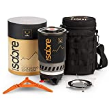 Primal Ridge Sabre Portable Solo 900ml Backpacking Stove. Piezo Ignition Propane Gas Jet Burner. Quick Camp Cooking and to Boil. A must-have Camping Cookware, camping pot set or camping accessories,