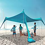 HARBLAND Beach Tent, 10X10 FT Beach Shade Canopy UPF50+ with Carry Bag for Outdoor, Backyard, Adult and Baby(4 Poles, 4-8 People)
