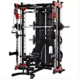 Commercial Home Gym - Smith Machine, Cables with Built in 160 kg Weights (Deluxe Red)