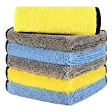 HOTOR Ultra Thick Microfiber Cleaning Cloths, 16in x 16in Thickened and Absorbent Microfiber Towels with Great Bibulous Performance, Ideal for Car & Home Use, Blue, Yellow and Grey - 6 Pack