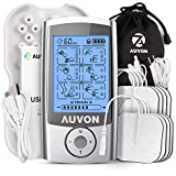 AUVON Rechargeable TENS Unit Muscle Stimulator, 3rd Gen 16 Modes TENS Machine with 8pcs 2'x2' Premium Electrode Pads (American Gel) for Pain Relief