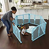 Toddleroo by North States Superyard Indoor/Outdoor 6 Panel Baby Play Yard: Safe Play Area Anywhere. Folds up with Carrying Strap for Easy Travel. Freestanding. 18.5 sq. ft. Enclosure (26' Tall, Aqua)