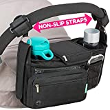Non-Slip Stroller Organizer With Cup Holders, Exclusive Straps Grip Handlebar. Universal Fit For Uppababy Vista Cruz Nuna Baby Jogger Bob Britax Bugaboo Graco Stroller Accessories Caddy Parent Console