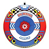 SportsStuff Big Bertha   1-4 Rider Towable Tube for Boating, Yellow, Red, Blue, Dimensions = inflated (68in) deflated (74in)