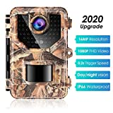 Sesern Trail Camera 16MP 1080P, IP66 Waterproof Game Cam with 940nm No Glow IR Night Vision to 65ft, 2.4 inches Color Screen, 0.2 Trigger Time Motion