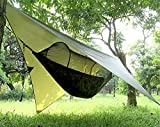 Gastonia Camping Hammock with Mosquito Bug Net Tent, Rain Fly Tarp & Tree Straps with Carabiners - Lightweight Portable Single Sleep Set for Hiking, Backpacking, Travel, Complete with Stow Away Pocket