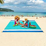 WIWIGO Sandproof Beach Blanket, Oversized Sand Free Beach Mat 79' X 82' Suitable for 4-7 Adults, Waterproof Lightweight Picnic Mat for Travel, Camping, Hiking(Lake Blue)
