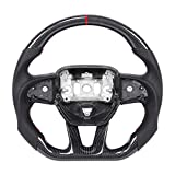 Gorgeri Car Steering Wheel, Carbon Fiber Steering Wheel Replacement Steering Wheel Red Stitching for Dodge Challenger / Charger 2015-2020 (Dodge Challenger/Charger 2015-2020) (normal)