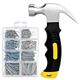 560PCs Hardware Nail Assortment Kit & 8oz Samll Claw Hammer, Mini Hammer with Anti-Slip Handle, Anti-Corrosive Galvanized 280 Picture Hanging Nails & 280 Finishing Nails for Household and DIY
