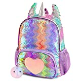 Mibasies Kids Unicorn Backpack for Girls Rainbow School Bag (Sequin pink/purple rainbow)