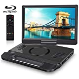 FANGOR 13.3 Inch Portable Bluray Player with 12' HD Swivel Screen, 5 Hours Rechargeable Battery and Remote Control, HDMI Out/AV in, Multi-Media Player, USB/SD Card, Last Memory, Region Free