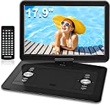 WONNIE 17.9'' Large Portable DVD/CD Player with 6 Hrs 5000mAH Rechargeable Battery, 15.4'' Swivel Screen,1366x768 HD LCD TFT, Regions Free, Support USB/SD Card/ Sync TV , High Volume Speaker