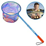 PLUSINNO Kids Fishing Net, Landing Net with Carbon Fiber Telescopic Pole Handle and Ultralight Aluminum Alloy Ring, Catch and Release Butterfly Net for Kids (1 Pack)