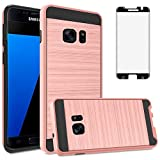 Asuwish Compatible with Samsung Galaxy S7 Edge Case Tempered Glass Screen Protector Cover Grip Slim Hard Shockproof Cell Phone Cases for Glaxay S7edge Gaxaly S 7 Plus Galaxies GS7 7s 7edge Rose Gold