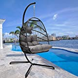 Egg Chair Aluminum Frame Swing Chair in Door Outdoor Hanging Egg Chair Patio Wicker Hanging Chair Hammock Chair with Stand and UV Resistant Cushion 350-pound Weight (Dark Grey)