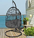 Action Club Wicker Egg Chair with Stand, Indoor/Outdoor Hanging Chair UV Resistant Dark Grey Cushions Swing Chair for Patio Bedroom Balcony