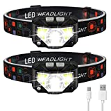 Headlamp Flashlight, LHKNL 1100 Lumen Ultra-Light Bright LED Rechargeable Headlight with White Red Light, 2-PACK Waterproof Motion Sensor Head Lamp, 8 Modes for Outdoor Camping Cycling Running Fishing
