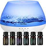 Homasy Essential Oil Diffuser with Oils, Oil Diffuser with 6 Essential Oils Set, 8 Color Lights and Sleep Mode for Bedroom - 500 Milliliter, White