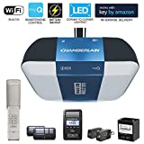 Chamberlain Group Chamberlain B1381 Bright LED Lighting Smartphone-Controlled Ultra-Quiet and Strong Belt Drive Garage Door Opener with Battery Backup and Max Lifting Power, 1.25 hp, Blue