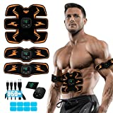 SPORTLIMIT Abs Stimulator, Ab Stimulator EMS Abdominal Muscle Stimulator,Muscle Trainer,USB Rechargeable Gear for Abdomen/Arm/Leg,Ab Stimulator Equipment for Men Women,8 pcs Free Gel Pads