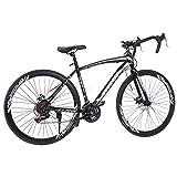 700c Road Bike City Commuter Bicycle with 21 Speeds Drivetrain, Mens/Womens Hybrid Road Bike Aluminum Full Suspension Road Bike for Intermediate to Advanced Riders (Black)