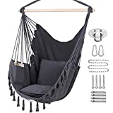 Y- STOP Hammock Chair Hanging Rope Swing, Max 330 Lbs, 2 Cushions Included, Large Macrame Hanging Chair with Pocket, Cotton Weave for Superior Comfort, Durability (Grey)