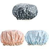 3 Pack Women Shower Cap Hair Bonnet Bath Caps Large Waterproof Double Layered Reusable for Spa Makeup Salon Home Use (Multi-colored-1)