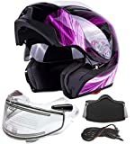 Typhoon G339 Dual Visor Modular Full Face Snowmobile Helmet With Heated Shield, Breath Box (Pink, Large)